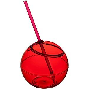 FIESTANO Kulatá nádobka s víčkem a brčkem, červená