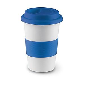 SENORA Keramický hrnek se silikonovým víčkem, bílá, modrá - reklamní hrnky