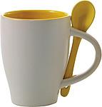 BRUNIT Kávový hrnek, 0,3 l, keramický, žlutý se lžičkou - reklamní hrnky