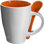 BRUNIT Kávový hrnek, 0,3 l, keramický,oranžová se lžičkou