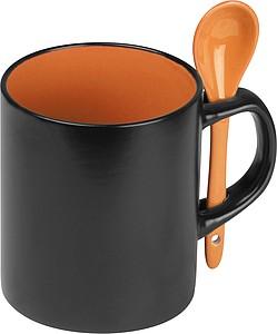 MAROM Keramický hrnek (300ml) se lžičkou v ošku, oranžová