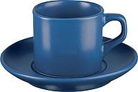 COLUMBIA hrnek s podšálkem, tmavě modrá