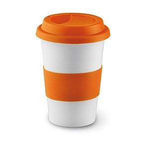 SENORA Keramický hrnek se silikonovým víčkem, bílá, oranžová
