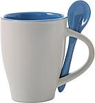 BRUNIT Kávový hrnek, 0,3 l, keramický, světle modrý se lžičkou