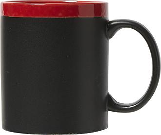 CARLIN Keramický hrnek ,na nějž lze psát křídou, červený uvnitř - reklamní hrnky