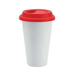 Dvoustěnný keramický hrnek se silikonovým víčkem, hrnek bílý, víčko červené