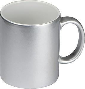 Stříbrný keramický hrnek 300ml, vhodný pro sublimaci