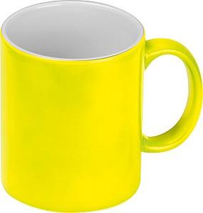 Neonově žlutý keramický hrnek 300ml, vhodný pro sublimaci