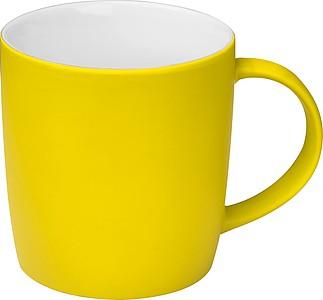 Pogumovaný keramický hrnek, 300ml, žlutý