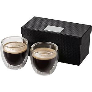 Sada 2ks skleněných dvoustěnných šálků na espresso
