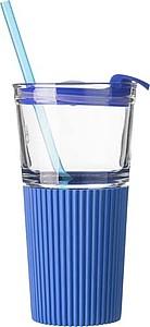 Skleněný kelímek se silikonovým obalem a plastovým víčkem, modrý - reklamní hrnky