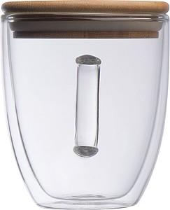 DYLAN Dvoustěnný skleněný hrnek s uchem a bambusovým víčkem, 350ml