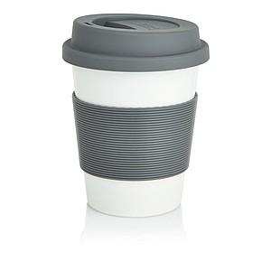 Hrnek na kávu plastový, silikon. vršek a pás, šedá