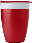 DELMUTH Plastový kelímek, 2v1 s víčkem, bílo červený