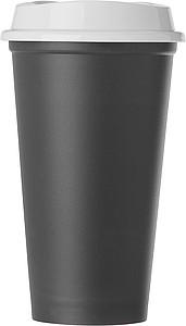 Plastový kelímek s bílým víčkem, černý - reklamní hrnky