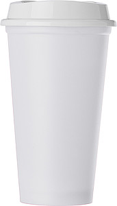 Plastový kelímek s bílým víčkem, bílý - reklamní hrnky