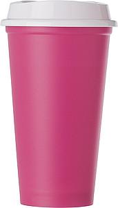 Plastový kelímek s bílým víčkem, růžový - reklamní hrnky