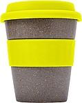 Bambusový hrnek se žlutým silikonovým víčkem - reklamní hrnky