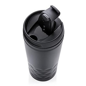 SVRATOL Módní hrnek z nerezové oceli s geometrickým vzorem, černý