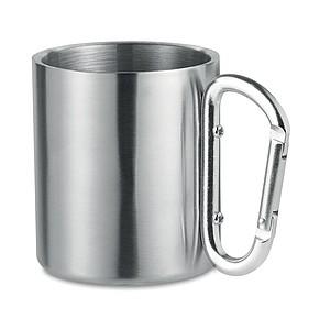 Kovový hrnek s karabinou, stříbrná, stříbrné ucho