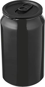 Kovový hrnek s víčem ve tvaru plechovky, objem 330ml, černý