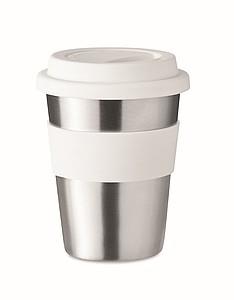 Nerezový pohárek se silikonovým úchopem, objem 350ml, bílá