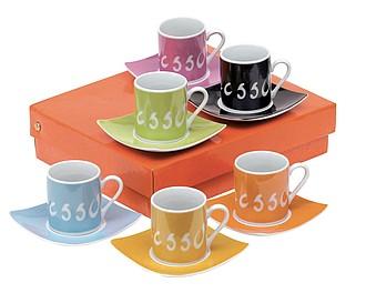 Espresso sada, 6 barevných šálků s podšálky
