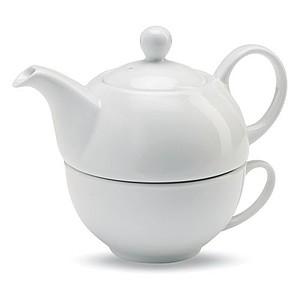 Keramická čajová sada šálku a konvičky, bílá