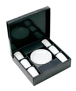 CAFETO Sada 6 šálků a podšálků na espreso v dárkové krabičce