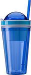 Plastový hrneček 340 ml s brčkem a kalíškem 180 ml, modrý