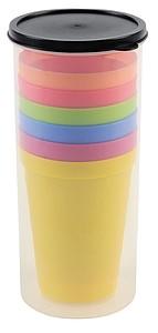 Set 6 barevných plastových kelímků - sklenice s potiskem