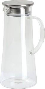 ASAMAKA Skleněná karafa s nerezovým víčkem, objem 1,4 l - sklenice s potiskem