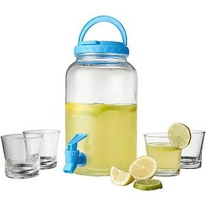 HALASE Sada karafy na vodu s kohoutkem a čtyř skleniček na pití