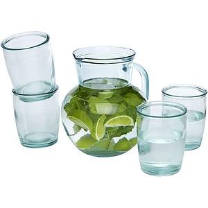 MIZU 5dílný set sklenic a džbánu z recyklovaného skla, objem 2,3 litru a 430ml