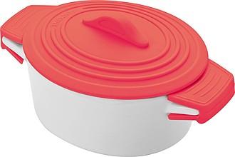 Bílá porcelánová miska, s červený silikonovým víčkem