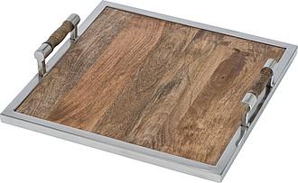 Dřevěný elegantní podnos, čtvercového tvaru