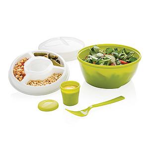 Sada plastových misek a vidličky na salát, zelená