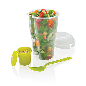Plastový kelímek na salát s vidličkou, zelená
