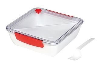 Lunchbox s odnímatelnou přihrádkou, červené detaily