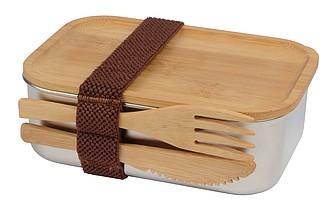 MERENDA Nerezový lunchbox s bambusovým víčkem a příborem