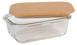 MANA Skleněný lunchbox s bambusovým víčkem, 350ml