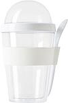 BRAK Dvoudílný plastový snídaňový hrnek se lžičkou, bílý