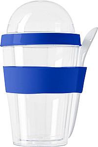 BRAK Dvoudílný plastový snídaňový hrnek se lžičkou, modrý