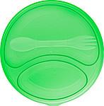 Plastová kulatá salátová krabička se dvěmi částmi a víčkem