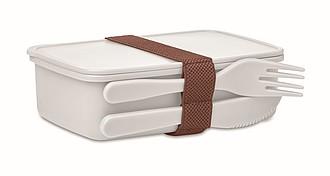 Obědová krabička s příborem, bílá