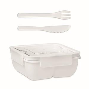 Dělená obědová krabička s příborem, bílá