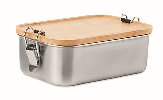 Obědová krabička z nerezu, s bambusovým víčkem, objem 750ml, středně hnědá