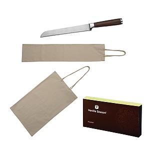 VS ABADAN sada 2 bavlněných sáčků na pečivo a nože na chleba v krabičce VS - reklamní hrnky