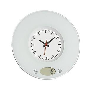 Kuchyňská digitální váha s analogovými hodinami, bílá