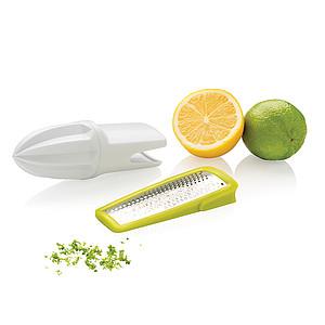Škrabka na kůru a lis na citrusy 2v1, bílá